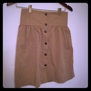 Tan Zara Button Up Skirt with Elastic Waist S